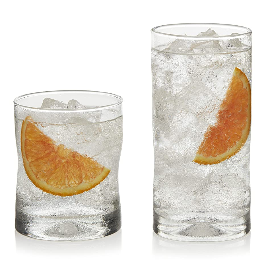 Libbey Impressions 16-Piece Tumbler and Rocks Glass Set (Renewed)