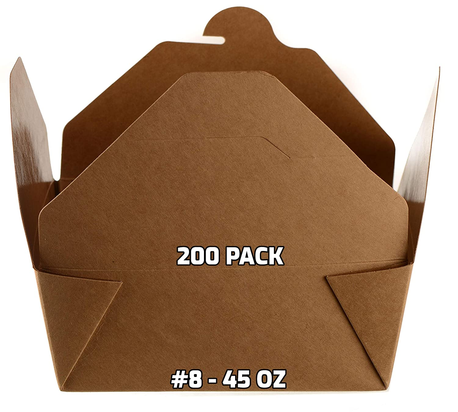 [200 PACK] Take Out Food Containers 45 oz Kraft Brown Paper Take