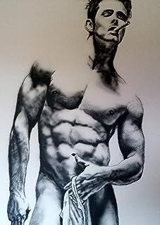 EGO - Pintura acrílica sobre lienzo/Desnudo masculino / 100% pintado a mano en blanco y negro/Firmado original Gay Art Sal...