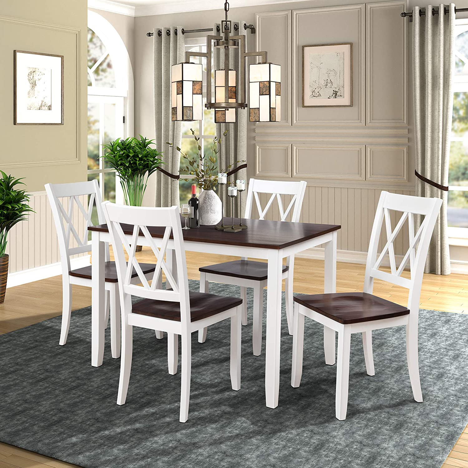 Merax Dining Table Set, Kitchen Dining Table Set for 9, Wood Table and  Chairs Set Cherry + White
