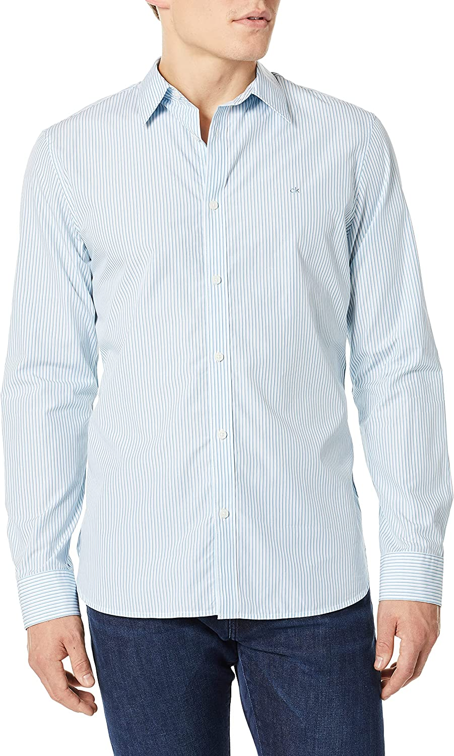 Calvin Klein Men's Extra Fine Beauty products Cotton Up Shirt New York Mall Button