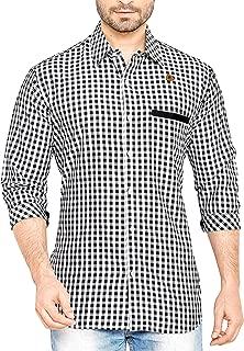 PP Shirts Men Black & White Coloured Casual Shirt