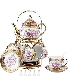 ufengke 13 Piece European Retro Titanium Ceramic Tea Set With Metal Holder, Porcelain Tea Cups Set, For Wedding, Red Rose Painting