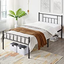 Yaheetech 13 inch Twin Size Metal Bed Frame with Headboard and Footboard Platform Bed Frame with Storage No Box Spring Needed Mattress Foundation for Girl Boy Black