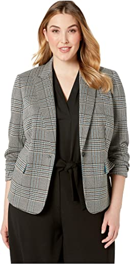 Plus Size Houndstooth Plaid 1BTN Notch Collar Jacket