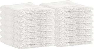 Puffy Cotton Luxury Washcloth Towel Set (12 Pack, 12x12 Inches) Multi-Purpose Extra Soft Fingertip Towels, Super Absorbent Face Cloths, Machine Washable, Sport and Workout Towels (White)