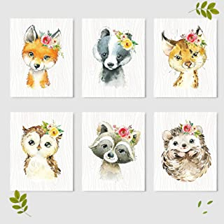 Woodland Animals Nursery Wall Decor Prints (Set of 6) - Baby Shower Gift Ideas Wall Art Prints - Unframed - 8 x 10