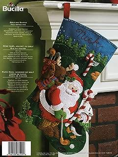 Bucilla 18-Inch Christmas Stocking Felt Applique Kit, 86145 Golfing Santa