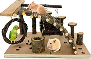 CAREUPET Apple-Wood Hamster Playground, Small Animal Activity Toys Set with Platform/Bridge/Feeder/Ladder/Food Bowl, Hamsters Chewing Toys for Sugar Glider, Mouse, Chinchilla, Rat, Gerbil