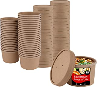 Stock Your Home (25 Count) 8 oz Kraft Brown Disposable Soup Cups with Lids have Multipurpose Use as Ice Cream Cups with Li...