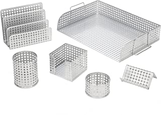 Desk Organizer 6 piece Set Includes Letter Tray, Letter sorter, Business Card Holder, Pencil Cup, Memo Holder and Clip Tray, Punched Metal, Silver