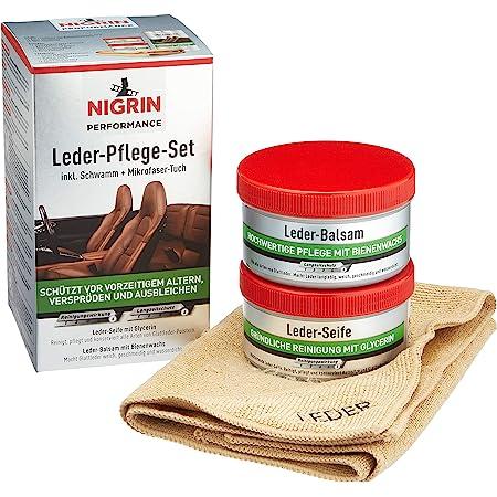 Nigrin Performance Leder Pflege Set Mit Balsam Seife Schwamm Und Mikrofaser Tuch Für Auto Leder Bezüge Auto