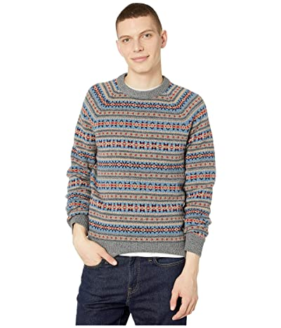 J.Crew Fair Isle Lambswool Crewneck Sweater (Fair Isle Heather Flannel) Men