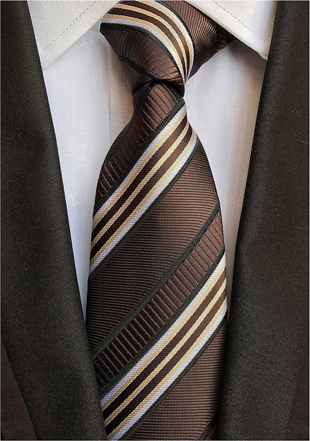 Elfeves Men's Modern Striped Patterned Formal Ties College Daily Woven Neckties