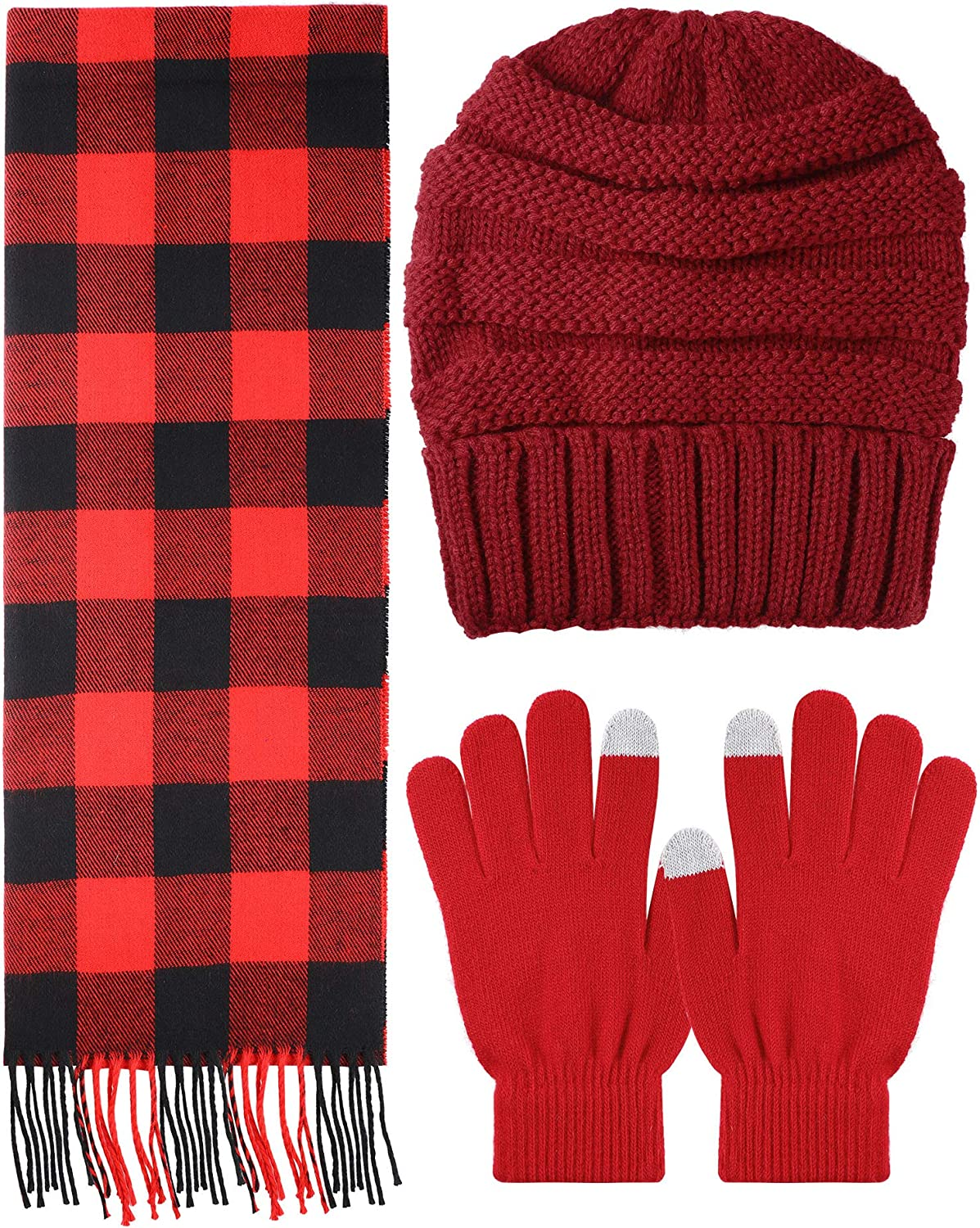 Christmas Winter Warm Set Knitted Beanie Gloves Challenge the lowest price of Japan ☆ and Hat Soft Fashion Sca