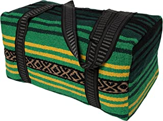 Peyote Style Carry On Shoulder Tote Duffel Bag Beautiful Hand-Woven Acrylic Mexican Serape Design in Vivid Colors (Peyote Green A)