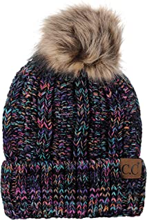 Thick Cable Knit Faux Fuzzy Fur Pom Fleece Lined Skull Cap Cuff Beanie