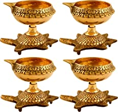Hashcart (Set of 10) Handmade Indian Puja Brass Oil Lamp - Golden Diya Lamp Engraved Design Dia with Turtle Base