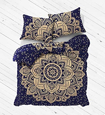 Sophia-Art Launch A Blue Gold Passion Mandala Duvet Cover, Indian Mandala Reversible Cotton Duvet Cover with Pillowcases, Boh