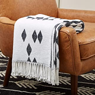 "Amazon Brand � Rivet Geometric Diamond Jacquard Reversible Throw Blanket, 50"" x 60"", Black / White"