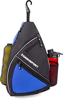 DashSport Pickleball Sling Bag with Ball Sleeve and Water Bottle Holder - Fits 6 Paddles and All Your Other Gear