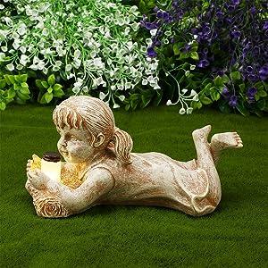 Garden Children Solar Lighted Firefly Jar Light Boy Girl Statues Creative Resin Kid Figurine Small Art Sculptures for Outdoor Lawn Patio Yard Decor (Girl)