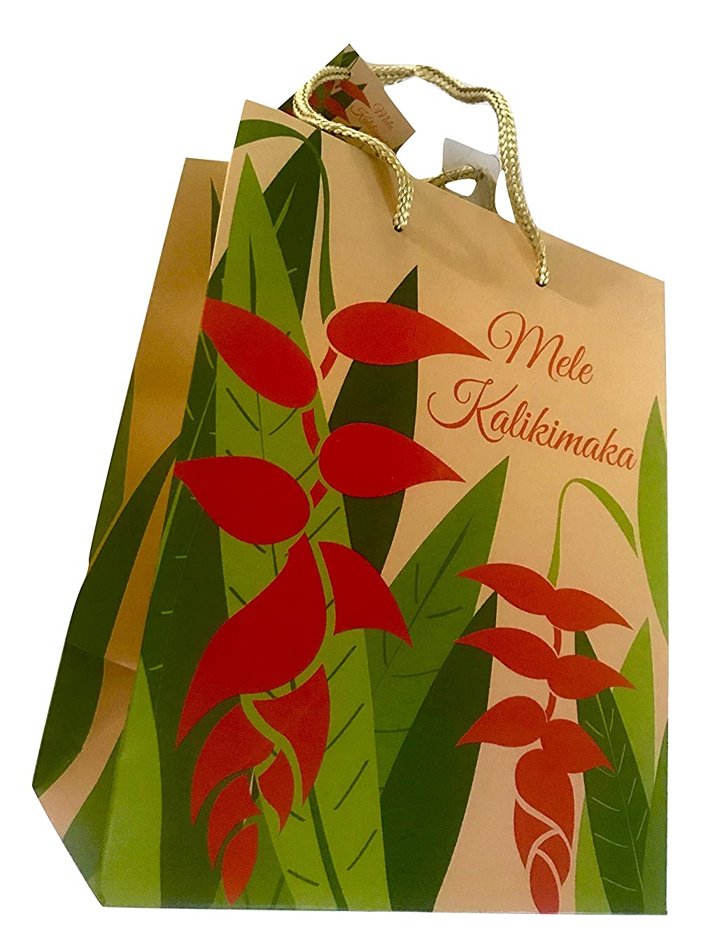 Great Lines Hawaiian Holiday Present Bag (Heliconia Red Mele Kalikimaka, 7.5