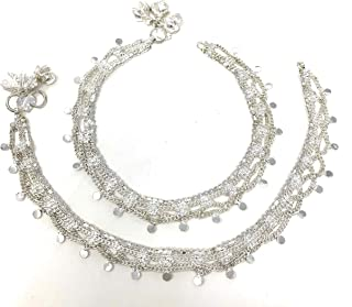 Duel On Jewel Indian Pakistani Bridal Ethnic Payal Silver Tone Anklet Pair Lace Filigree with Loud Bells