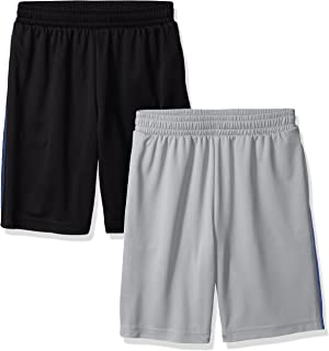 Amazon Essentials Toddler Boy's 2-Pack Basketball Mesh Shorts, Black/Light Grey, 3T