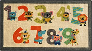 Silk & Sultans Agathe Collection Kids Numbers Design, Pet Friendly, Non-Slip Doormat with Rubber Backing, 1'x2' Ivory