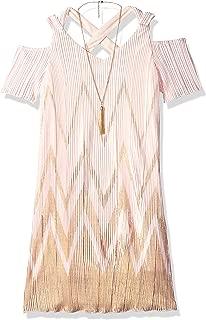 Amy Byer Girls' Big Cold Shoulder X Back Pleated Border Dress