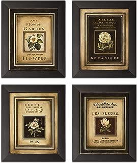 Gango Home Decor Framed Flower Garden; Lovely, Vintage French Floral Signs; Four Framed 8x10 Prints