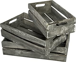 MyGift Farmhouse Style Barnwood Gray Wood Nesting Crates, Rustic Open Top Storage Pallet Boxes, Set of 3
