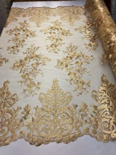 Damask Pattern Embroidery Lace with Small Flowers Border - Gold - Elegant Fancy Embroided Lace Mesh Dress Fabrics Sold by The Yard