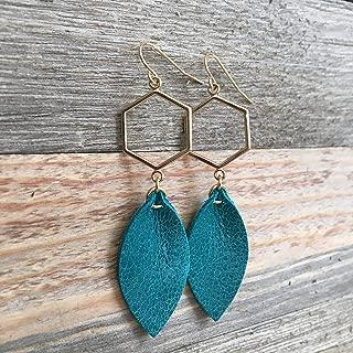 Turquoise Leather Leaf Earrings on Goldtone Geometric Hexagon