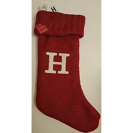 "Letter Initial Monogram H 19/"" White//Red Holiday Knit Stocking Xmas Wondershop"