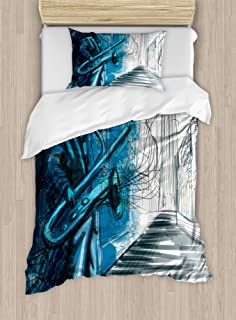 Ambesonne Music Duvet Cover Set, Saxophone Man Playing Solo in Street at Night Vibes Grunge Design Print, Decorative 2 Piece Bedding Set with 1 Pillow Sham, Twin Size, Blue White