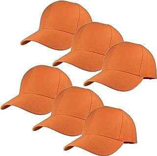 Plain Blank Baseball Caps Adjustable Back Strap Wholesale Lot 6 Pack