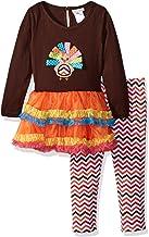 Youngland Little Girls' Thanksgiving Knit to Tiered Tutu Turkey Mini Dress
