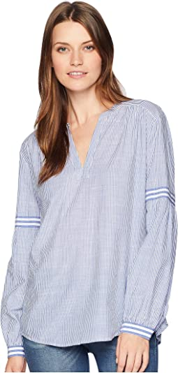 Long Sleeve Mix Stripe Peasant Blouse