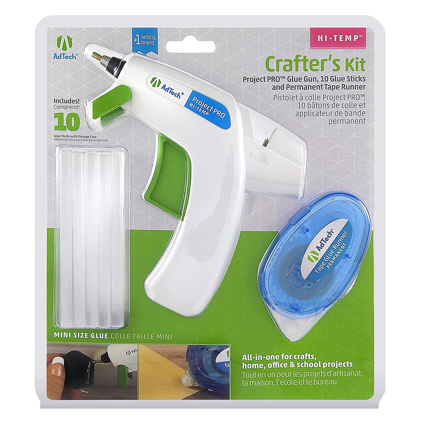 AdTech W05643 Crafter's Gift Pack with Detailer Glue Gun, Clear Glue Sticks and Glue Runner