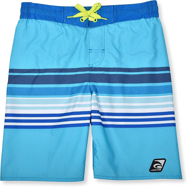 LAGUNA Boys UPF 50 Boys Stripe Drawstring Boardshorts Swim Trunks