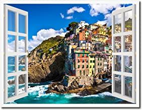Fisherman Village Riomaggiore Picture French Window Art Framed Print on Canvas Office Wall Home Decor Collection Gift Ideas, 7