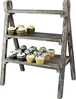 MyGift 3-Tier Rustic Torched Wood Plant Stand & Display Riser