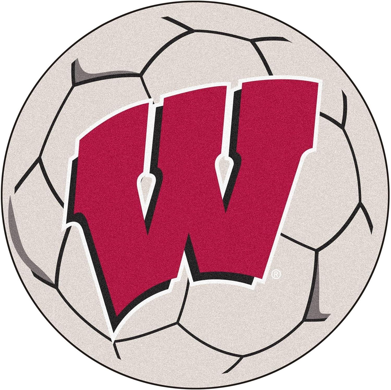 Wisconsin Badgers 29  Round Soccer Ball Floor Mat (Rug)