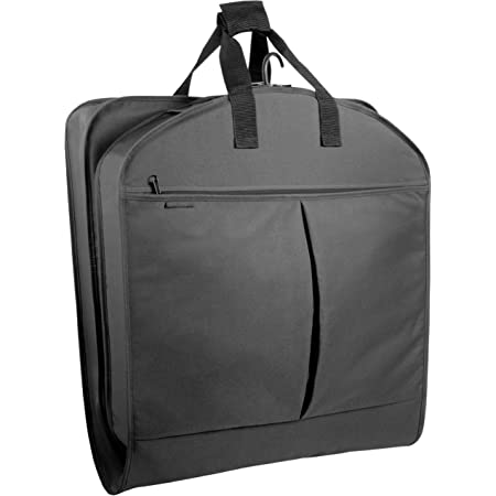 WallyBags Heavy Duty Travel Garment Bag with Pockets, Black, 52-inch