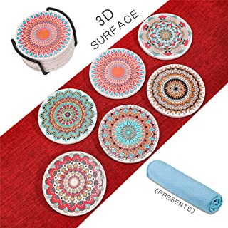 Cork Stone Coasters for Drinks Absorbent - Cup Coasters with Holder,3D Relief Texture on the Surface of Coasters,Prevent Furniture from Dirty and Scratched, Set of 6