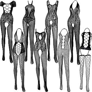 8 Pieces Women's Lace Stockings Mesh Lingerie Stockings Lingerie Floral Fishnet Bodysuits Lingerie Nightwear for Romantic ...