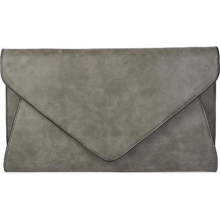 styleBREAKER Clutch Abendtasche im Envelope Kuvert Design mit Schulterriehmen und Trageschlaufe, Damen 02012087, Farbe:Dunkelgrau