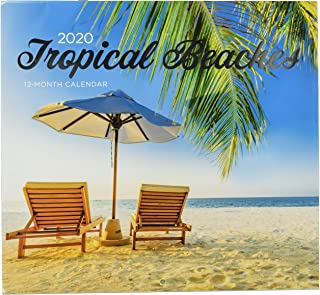 2 Pack of 12 Month 2020 Wall Calendars Tropical Beachs Sunsets New Sealed